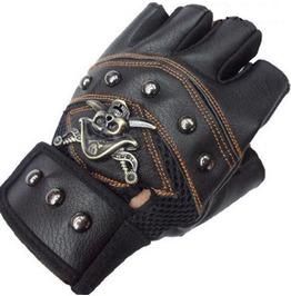 Steampunk Half Finger Metal Skull Rivets Pu Leather Bike Gloves