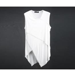 Men's Cutting Pattern Unbalance Sleeveless Shirts