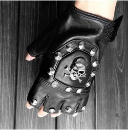 Steampunk Half Finger Skull Rivets Pu Leather Bike Gloves D1