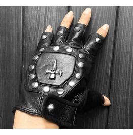 Steampunk Half Finger Skull Rivets Pu Leather Bike Gloves D2