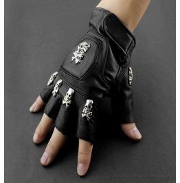 Steampunk Half Finger Skull Pu Leather Bike Gloves D3