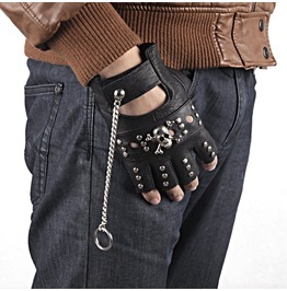 Steampunk Half Finger Skull Pu Leather Bike Gloves D4