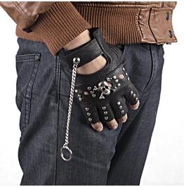 Steampunk Half Finger Skull Pu Leather Bike Gloves D4