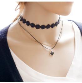 New Fashion Lace Clover Pendant Necklace Chain Necklace