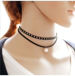 New Fashion National Wind Double Multilayer Chock Pearl Necklace