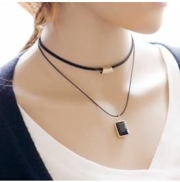 Women 's Fashion New Minimalist Ms. Bilayer Necklace Box Necklace