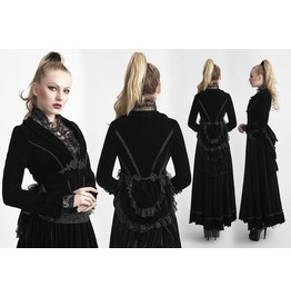 Ladies Dark Noblewoman Velvet Over Coat Black Gothic Lace Vampire Jacket