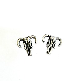 Longhorn Steer Studs Skull Post Earrings Handmade Gift By Aunt Matilda