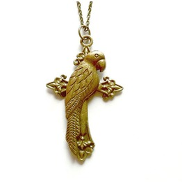 Parrot Cross Necklace Antique Gold Steampunk Cross Handmade By Aunt Matilda