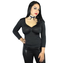 Sexy Pinup Rockabilly Vtg Inspired Satin 3/4 Sleeve Gothic Plus Sizes Top