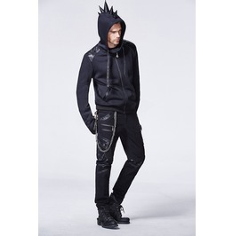 Mens Black Spike Hoodie Punk Faux Leather Goth Industrial Jacket Free Ship