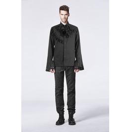 Mens Black New Romantic Maestro Shirt Gothic Victorian Vampire Button Down