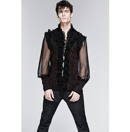 Dramatic Mens Black Red Romantic Shirt Gothic Victorian Vampire Free Ship