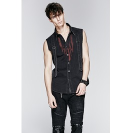 Mens Black Sleeveless Blood Stained Strap Industrial Punk Shirt Free Ship