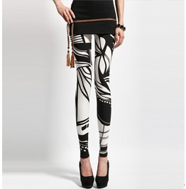 White Black Abstract Pattern Leggings