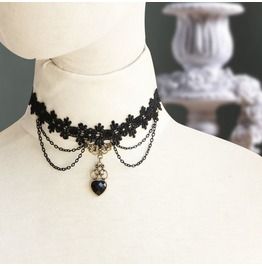 Handcraft Black Lace Jewel Heart Vampire Gothic Necklace Ev 1