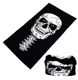 Black White Skull Multi Usage Bandana Bike Scarf