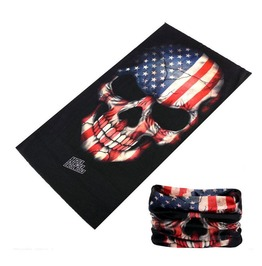 Star And Striped Skull Multi Usage Bandana Bike Scarf