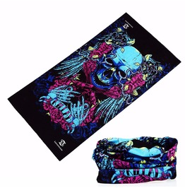 Two Pistol Skull Multi Usage Bandana Bike Scarf 2 Pc. Lot