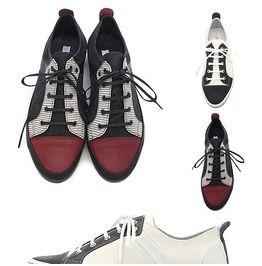 Premium Contrast Toe Cap Leather Sneakers, Shoes 231