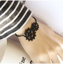 Handcraft Black Wheel Gear Gothic Bracelet Xh 1