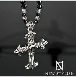 Charm Cross Black And Metal Biz Necklace 42