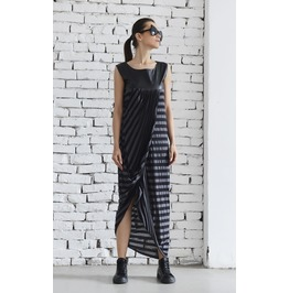 Long Asymmetric Dress/Maxi Striped Dress/Leather Dress/Oversize Long Tunic