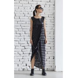 Long Asymmetric Dress/Maxi Striped Dress/Leather Dress/Oversize Long Tunic