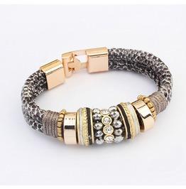 Unique Metal Work Leopard Spot Leather Bracelet