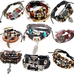 Unique Metal Work Multi Strands Leather Bracelet 9 Pcs Per Lot D1