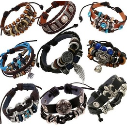 Unique Metal Work Multi Strands Leather Bracelet 9 Pcs Per Lot D2