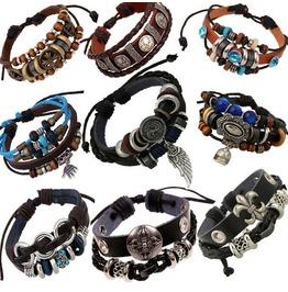 Unique Metal Work Multi Strands Leather Bracelet 9 Pcs Per Lot D2