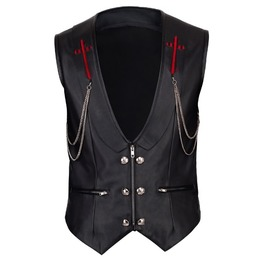 Faux Leather Gothic/Biker Waistcoat