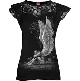 New Black Angel Lace Layered Cap Sleeve Top