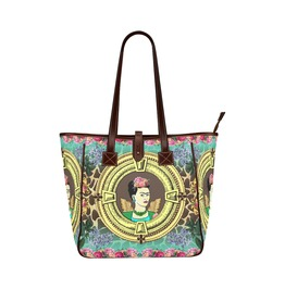 Frida Kahlo With Wings, Vintage Flowers Art Giraffe Print Tote Handbag