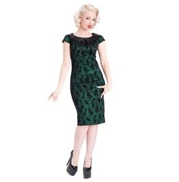 New Swing Tattoo Floral Pencil Green Dress