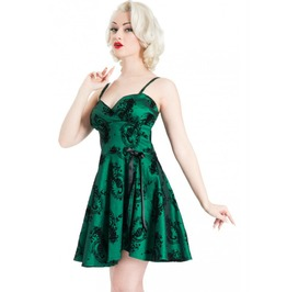 New Women Swing Flocked Tafetta Green Dress