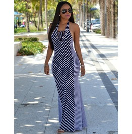 Sexy Halter Backless Bodycon Striped Maxi Clubwear Party Cocktail Dress