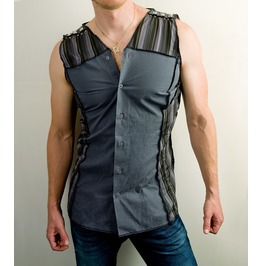Sleeveless Industrial Button Down Shirt With Shoulder Studs