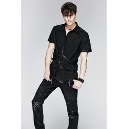 Mens Fetish Black Goth Short Sleeve Bondage Strap Industrial Punk Shirt