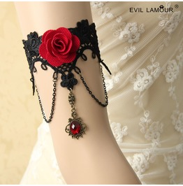 Handcraft Black Lace Red Flower Gothic Arm Bracelet At 19