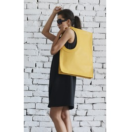 Yellow Large Leather Bag/Extravagant Tote Bag/Square Casual Bag/Clutch