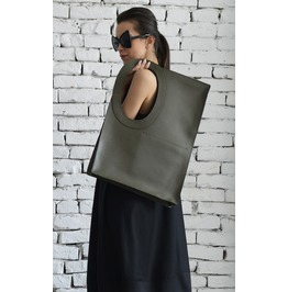 Dark Green Large Tote Bag/Extravagant Military Green Bag/Square Maxi Bag