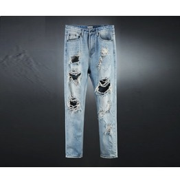 Vintage Men's Light Blue Denim Destroyed Jeans
