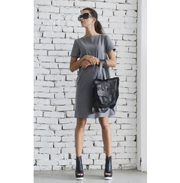 Grey Short Casual Dress/Loose Summer Dress/Oversize Grey Tunic Top/Handmade