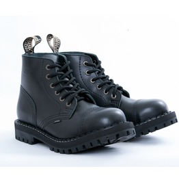 Steel 6 Eyelet Boots Black With Screw Sole