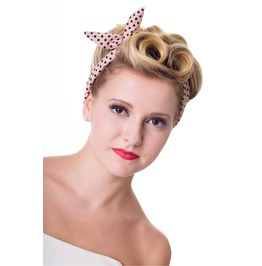 Banned Apparel Dusty Pink Polka Dots Hairband