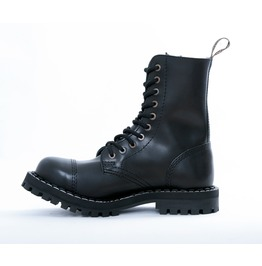 Steel 10 Eyelet Boots Black With Screw Sole