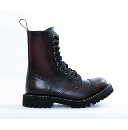 Steel 10 Eyelet Boots Burgundy With Screw Sole