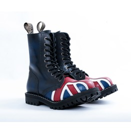 Steel 10 Eyelet Boots British Flag With Screw Sole